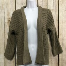 August Silk Women Cardigan Sweater Open Front Brown Long Sleeves Career Sz Small