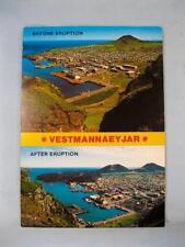 Vestmannaeyjar Before & After Eruption Reykjavik Iceland Unused Postcard (O)