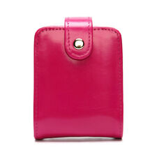 Women Genuine Leather Make Up Case Lipstick Bag Cigarette Snap Mirror Hot Pink