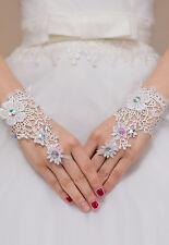 White Elegant Floral Lace Diamond Detail Wedding Bridal GLOVES Holy Communion