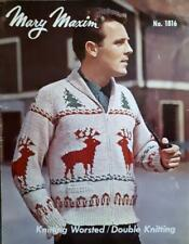 VINTAGE Mary Maxim Graph Knitting Pattern No. 1816 REINDEER Cardigan 38-44