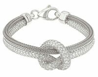 """Italian 925 Sterling Silver Love Knot Tie Knot Mesh Bracelet 7.5"""""""