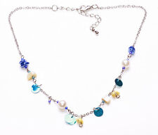 SHORT SILVER METAL NECKLACE WITH AQUA SEQUINS & PEARLY BEADS, ADJUSTS 6CM(ZX47)