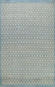 Vegetable Dye Super Kazak Geometric Oriental Area Rug Blue Wool Handmade 8'x10'