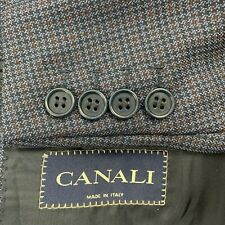 CANALI Mens Navy Blue Canvassed Houndstooth Italian Wool Sport Coat Blazer 42L