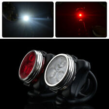 USB Rechargeable Cycling Bicycle Bike 3 LED Head Front Rear Tail Clip Light UK