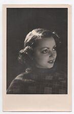 PHOTO ANCIENNE MANNEQUIN FEMME Line Docea 1940 Jeu de lumière Studio Profil