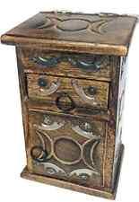 "Mini Triple Moon Goddess Wicca Pagan Wood Carved Herb Cupboard Chest 9""x4"""