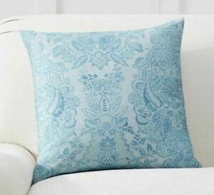 """new  Pottery Barn Cecile blue  18""""  Patterned  Pillow  Cover NWT"""
