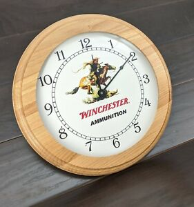 """Winchester Horse and Rider Wall Clock, 16"""" Solid Oak Trim, Made in USA"""