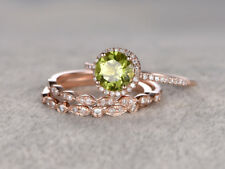 2 CT Round Cut  Peridot 14k Rose Gold Finish Diamond Engagement Trio Ring Set