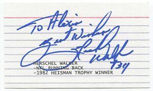 Herschel Walker Signed 3x5 Index Card Autographed Football NFL Hall of Fame