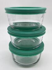 3 Pyrex 7202 Glass Food Storage Bowls w/ 7202-Pc Green Plastic Lid Covers Euc