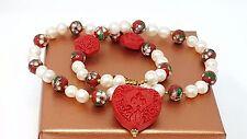 Vintage Large Natural River Pearls Cloisonne Cinnabar  Beaded Necklace
