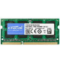 Crucial 4GB 2RX8 PC3-8500s DDR3-1066Mhz 204 PIN 1.5V CL7 SO-DIMM Notebook Memory