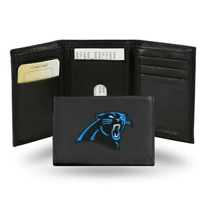 Carolina Panthers NFL Team Logo Embroidered Leather TRIFOLD Wallet