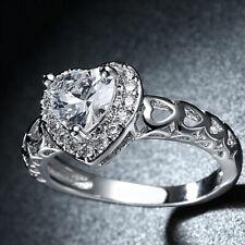 Women's Girls Stainless Steel CZ Forever Love Heart Fashion Promise Ring Sz 5-10