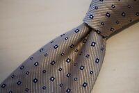 Luciano Barbera Beige Blue Geometric 100% Silk Tie Made Italy