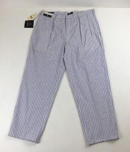 Mens NWT Vtg Polo Ralph Lauren Purple/White Striped Classic Golf Pants 38 X 30
