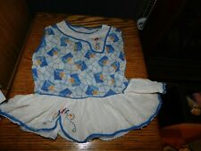 Mid Century Handmade Baby Dress Geometric w/ Hand Embroidered Flowers Vintage
