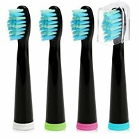 Fairywill Electric Toothbrush Replacement Head Soft Bristle x 4 Crystal Black