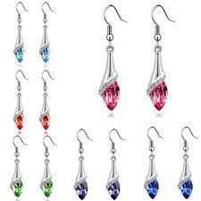Women Elegant Silver Crystal Long Drop Dangle Ear Stud Hook Earrings Jewelry HOT