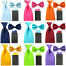 Men Solid Satin Bowtie 8cm Neck Tie Pre-folded 4 Point Hanky Pocket Square Set