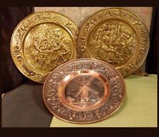 "3-Lot 14"" Decorative Hammered Brass /Copper Wall Hanging Display Plates England"