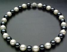 12mm AAA Black & White south sea Shell Pearl Necklace 18''