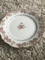 """Two Limoges 7"""" Plates CH Field Haviland Pink Roses Gold Trim Embossed Edges"""