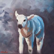 Original Oil Painting On Canvas Impressionism Impasto Lamb Farm Animal Art 10x10