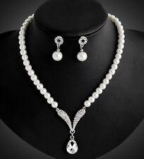 Crystal Fashion Women Bib Chain Pendant Statement Pearl Necklace Set Earrings