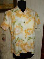Chemisier beige à grandes fleurs jaunes COLUMBIA L 42fr 14uk manche courte