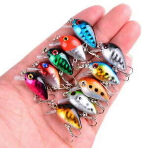 10 MICRO PLUGS CRANK PLUG BAIT SPINNING LURES SNAP BEAN PIKE PERCH TROUT #21