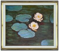 Framed Hand Painted Oil Painting Repro Claude Monet Pink Waterlilies 20x24in