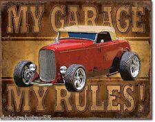 MY GARAGE MY TOOLS Hot Rod Tool Box Fridge Magnet Metal Retro Tin Sign MAGNET
