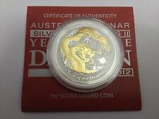 Perth Mint Australia $1 Lunar Series 2 Gilded Dragon 2012 1 oz .999 Silver Coin