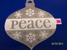 Peace Ornament Winter Silver Snowflake Christmas Holiday Party Decoration Cutout