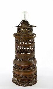 1900's Chinese Brass Copper Pagoda Opium Lamp Lantern Peking Glass Hat Button