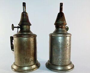 2 x Antique Vintage French Pigeon Lamp Oil Petrol La Meilleure Paris c1900 Lampe
