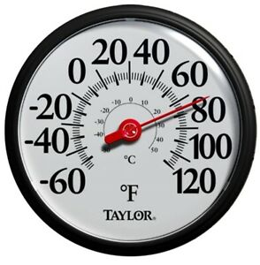 "NEW TAYLOR 6700 13.25"" BLACK WHITE -60 - 120 INDOOR OUTDOOR THERMOMETER 6284350"