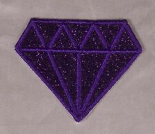 Embroidered Glitter Sparkle Violet Purple Diamond Gem Applique Patch Iron On Sew