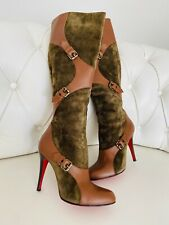 Christian Louboutin Brown Leather And Suede Buckle Knee-high Boots 39