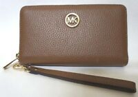 Michael Kors Fulton Brown Pebbled Leather Large Flat Phone Case Wallet Wristlet