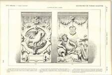 1882 Bas Relief Stone Sculpture River God Pelican Brussels Chateau