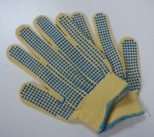 New! Ansell? 70-340 Kevlar Gloves Size SMALL GoldKnit Blue PVC dots both sides