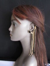 Women Earring Fashion Extra Long Gold Black Fabric Drape Fringes Tassel 1 Side