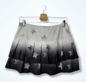 Lucky In Love Tennis Skirt Size M 8-10 Gray Skort Team Tier Ombre Star Athletic