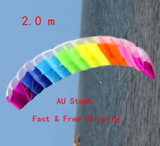 2m Beginner Power Dual Line Stunt Parafoil Parachute Rainbow Sports Beach Kite