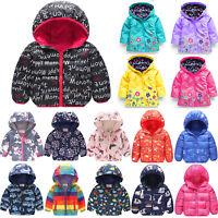 Kid Boy Girl Hooded Jacket Rain Coat Padded Warm Floral Windproof Outwear Clothe